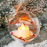 """Ёлочный шар со свечей """"Рябиновая сказка"""" стекло 10,5х8,5 см. (светится), фото 1"""