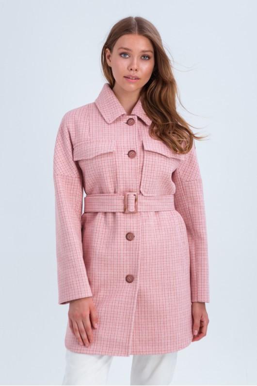Пальто -сорочка в клітку 42,44,46,48 розмір Рожевий