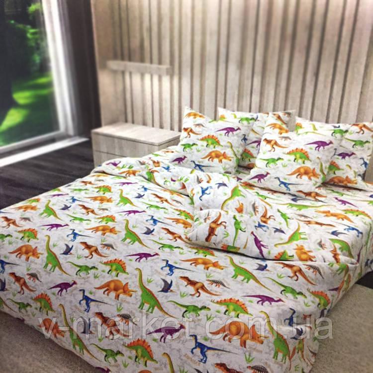 """Детское постельное белье """"Динозавры"""" полуторное 150/220 см, наволочки 70/70 см, сатин, 100% хлопок"""
