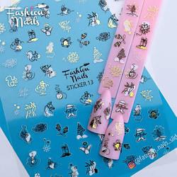 Новогодние Наклейки для ногтей 9*12см - Стикер для ногтей на липкой основе STICKER 13 Fashion Nails