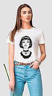 Белая женская футболка с принтом девочка Матильда