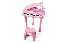 """Дитяче піаніно синтезатор Baoli """"Маленький музикант"""" з мікрофоном і стільчиком 37 клавіш (рожевий)"""
