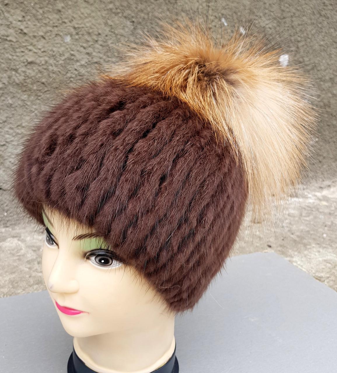 Женская меховая шапка Klaus Ондатра с Исландской лисой 55-58 Коричневый (023)