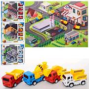Набор с транспортом 363-32-33-34-35 коврик 70-80 см, транспорт 4шт-8 см, 4 вида, в коробке
