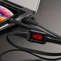 Кабель Hoco Original S4  Lightning с LED дисплеем/таймером зарядки 2.4А Black, фото 3