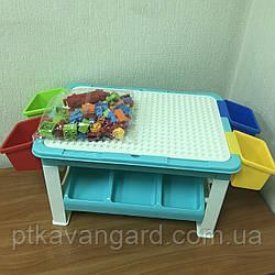 Игровой столик для песка и воды, детский столик с Конструктором 69 Больших деталей 8405
