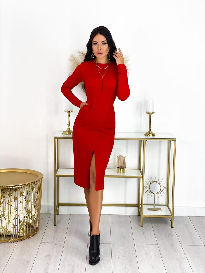 Женское стильное платье с карманами,разрез