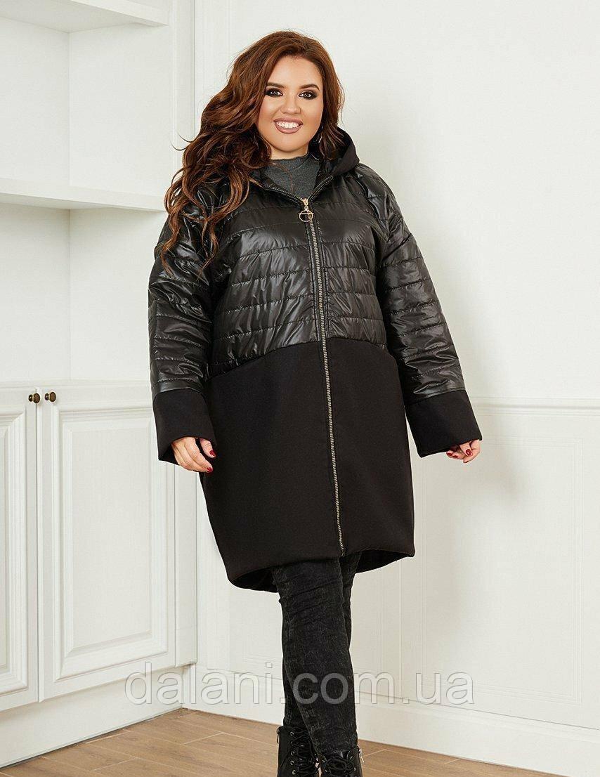 Женская комбинированная черная куртка на синтепоне батал
