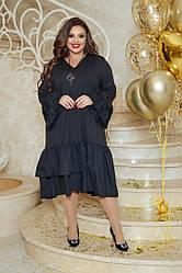 Женское черное платье свободное нарядное большие размеры