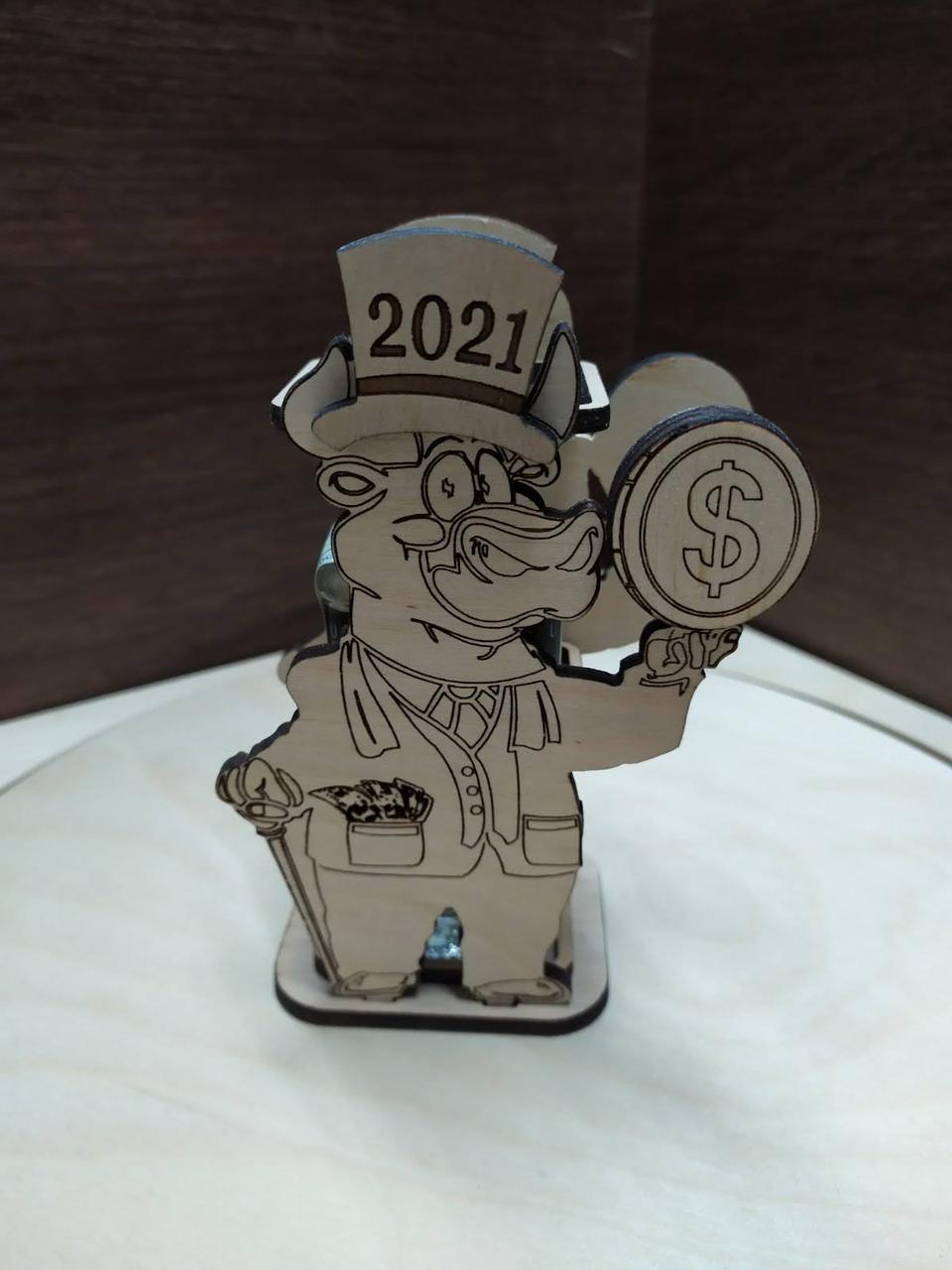 Новорічний сувенір, карандашница, символ 2021 - бичок, подарунок на новий рік