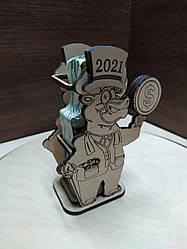 Сувенир новогодний, карандашница+бутылочка, символ 2021 - бычок, подарок на новый год
