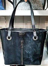 Женская черная молодежная сумка Dior из эко-кожи и натуральной замши на молнии с отделениями по бокам 32*30 см