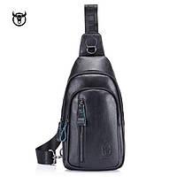 Сумка мужская кожаная нагрудная. Сумка рюкзак на одно плечо из натуральной кожи (черная)