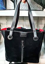 Женская черно-красная молодежная сумка Dior из натуральной замши на молнии с отделами по бокам 32*30 см