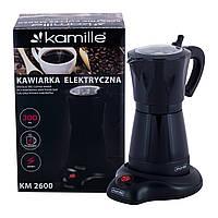 Кофеварка электрическая гейзерная Kamille 300мл из алюминия KM-2600