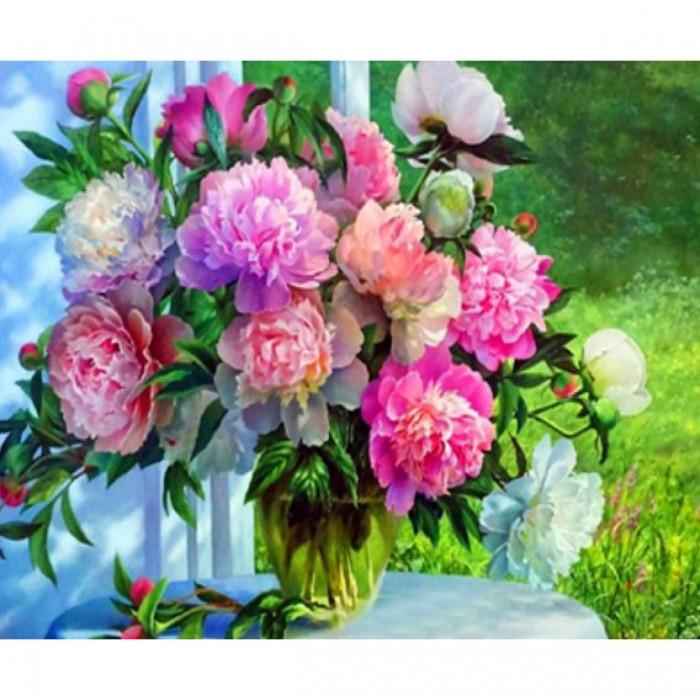 Картина по номерам Букет пионов, Холст на Деревянном подрамнике, Акриловые Краски, Кисти, Размер: 30х40см,