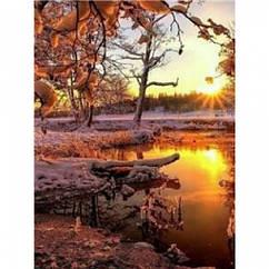 """Картина по номерам """"Зимний закат"""", Подарочная Упаковка, Холст на Деревянном подрамнике, Акриловые Краски,"""