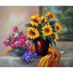 """Картина по номерам """"Две вазы с цветами"""", Холст на Деревянном подрамнике, Акриловые Краски, Кисти, Размер:"""