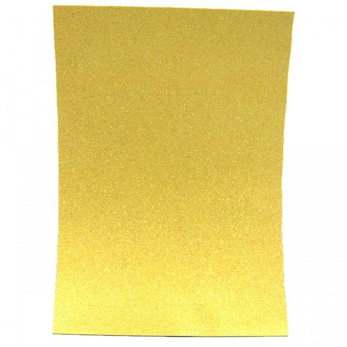 Фоамиран с Глиттером, на Клеевой основе, Цвет: Желтый, Толщина: 1.7мм, Размер: 21х29.7см, (УТ100021788)