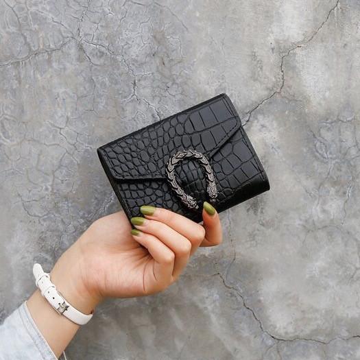 Жіночий класичний гаманець рептилія з підковою чорний 11х9 см