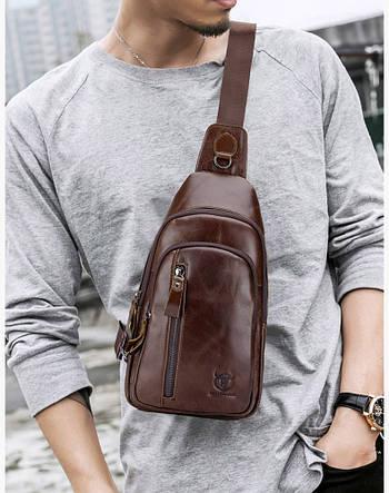 Сумка чоловіча шкіряна нагрудна. Сумка рюкзак на одне плече з натуральної шкіри (коричнева)