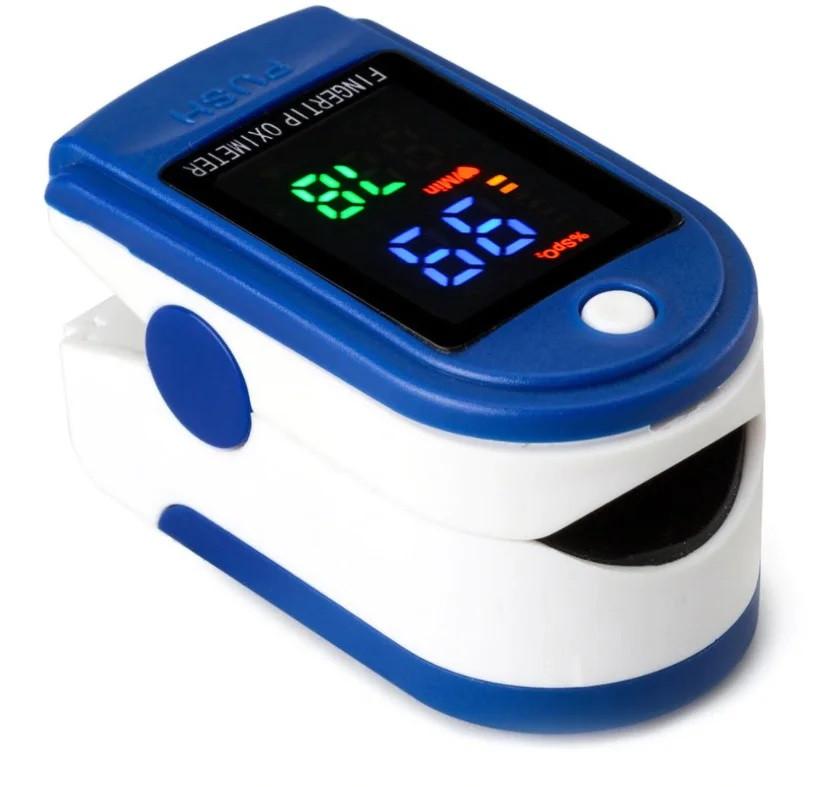Пульсометр оксиметр на палец (пульсоксиметр) LMT-01 LED Blue