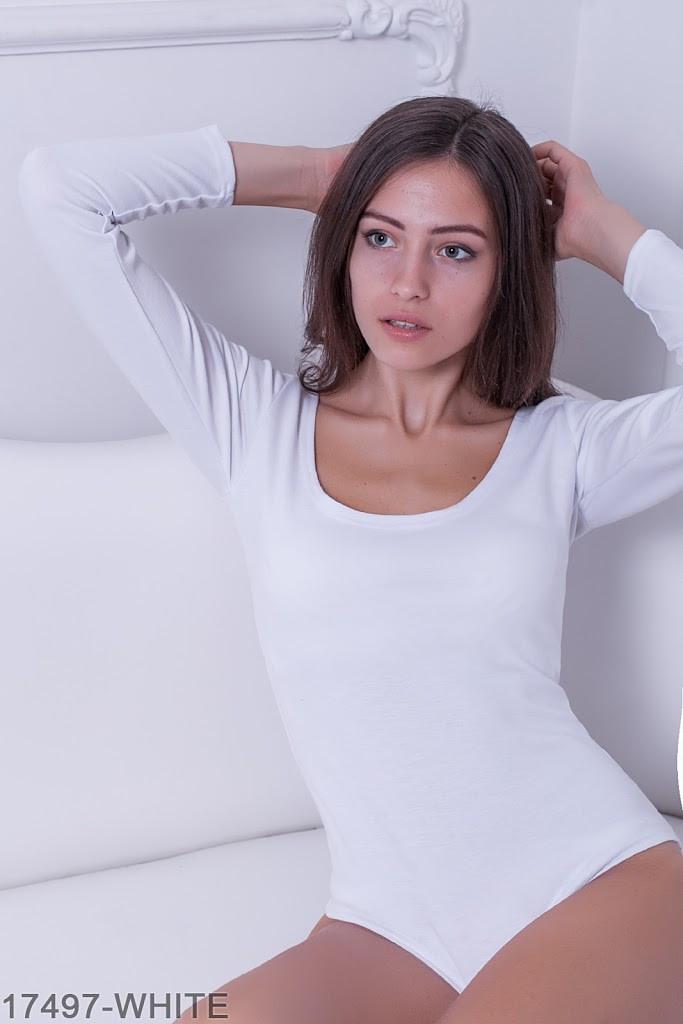 Жіноче боді Подіум Slim 17497-WHITE XS Білий