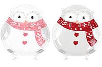 """Керамическое рождественское блюдо """"Сова"""" новогодняя посуда 22 см, набор 2 шт"""