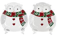 """Керамическое рождественское блюдо """"Сова"""" новогодняя посуда 18 см, набор 4 шт"""
