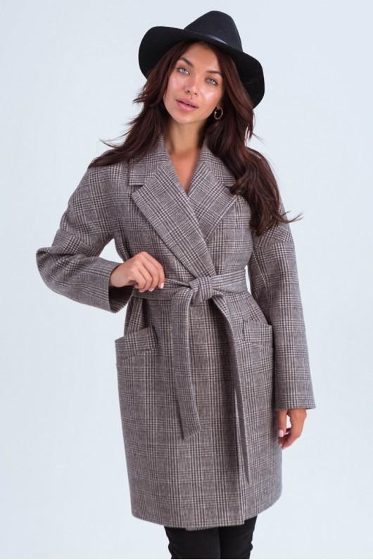 Модне молодіжне пальто в клітинку 42,44,46,48 розмір Коричневий