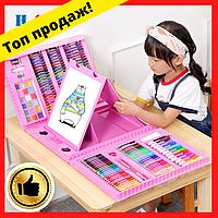 Набор детского творчества (208 предметов) чемодан (розовый, голубой)