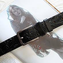 Женский кожаный тесненный ремень 3.5 см разные цвета