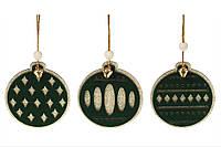 """Деревянное елочное украшение """"Шар"""" новогодняя украшение на елку 8 см, 3 вида, набор 96 шт"""