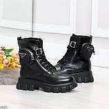 Дизайнерские высокие черные женские зимние ботинки с кошельками сумочками, фото 4