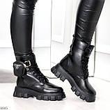 Дизайнерские высокие черные женские зимние ботинки с кошельками сумочками, фото 6