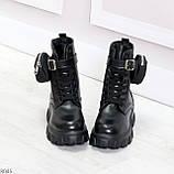 Дизайнерские высокие черные женские зимние ботинки с кошельками сумочками, фото 10