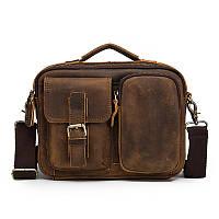 Мужская сумка через плечо Натуральня кожа Барсетка Мужская кожаная сумка для документов планшет Коричневая