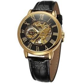 Часы  Мужские Forsining 8099 Black-Gold-Black черный ремешок.