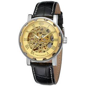 Часы  Мужские Forsining 8008  Black-Silver-Gold черный ремешок