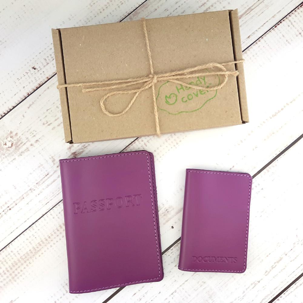 Подарочный набор №4: обложка на паспорт + обложка документы (фуксия)