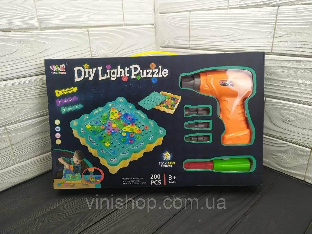 3D пазл мозаика с подсветкой TU LE HUI Diy Light Puzzle конструктор с электрошуруповертом (200 деталей)