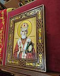 Икона Святой Николай Чудотворец в резном киоте с росписью 34*28cm, фото 2