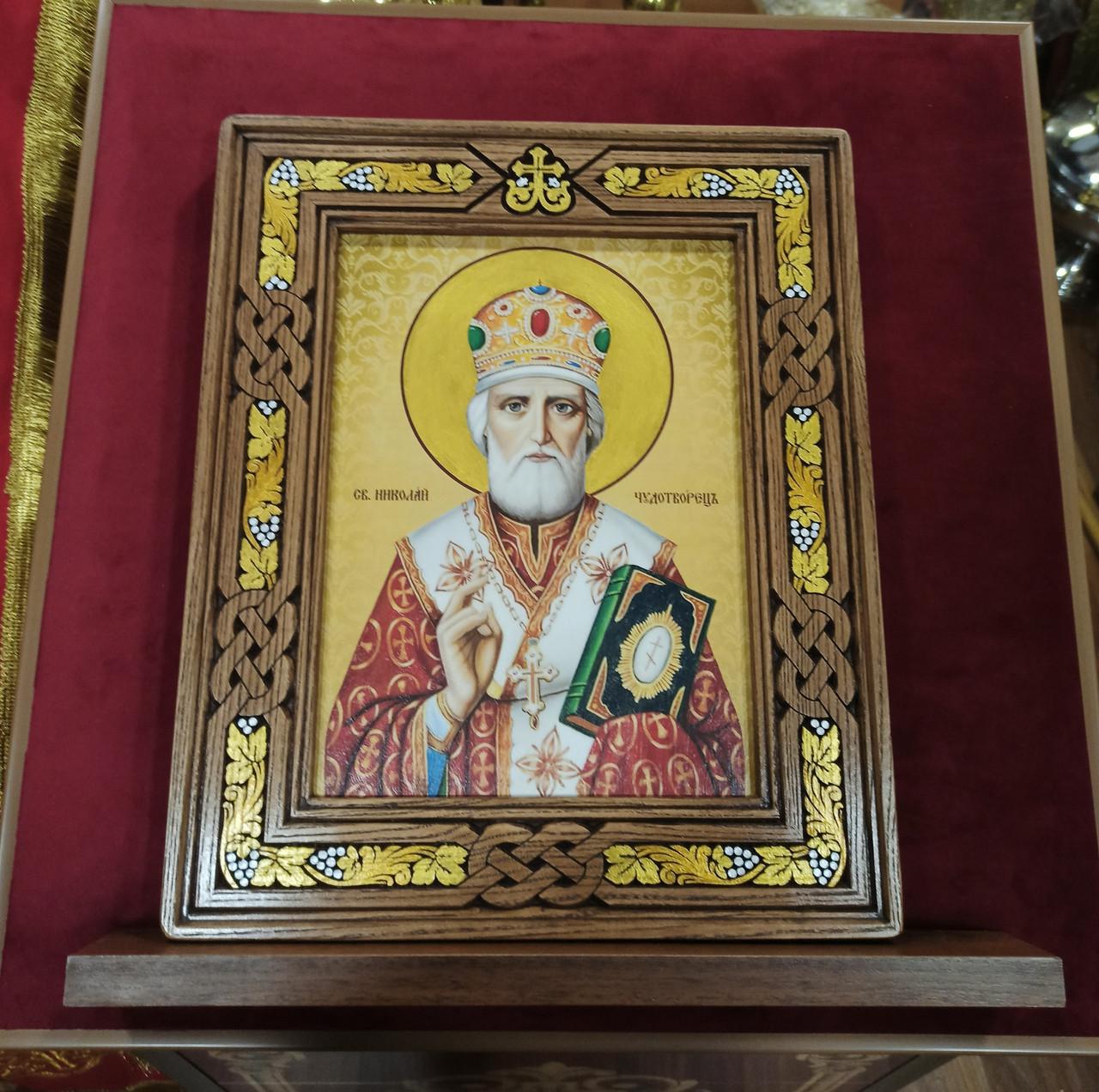 Икона Святой Николай Чудотворец в резном киоте с росписью 34*28cm