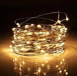 Электрическая гирлянда Штора Капля росы  400 лампочек (20 линий) 3 м * 2 м, USB пульт, теплый белый, фото 2