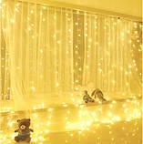 Электрическая гирлянда Штора Капля росы  400 лампочек (20 линий) 3 м * 2 м, USB пульт, теплый белый, фото 3