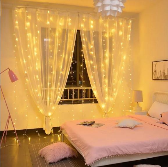 Электрическая гирлянда Штора Капля росы  400 лампочек (20 линий) 3 м * 2 м, USB пульт, теплый белый