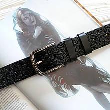 Женский кожаный тесненный ремень 3.5 см черный