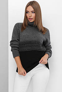 Вязаный теплый свитер с горлом 44-50 размер Серый