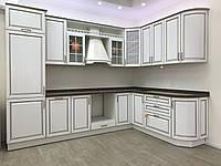 Кухня мдф краска + патина + столешница и мойка камень + вытяжка с Выставки магазина, фото 1