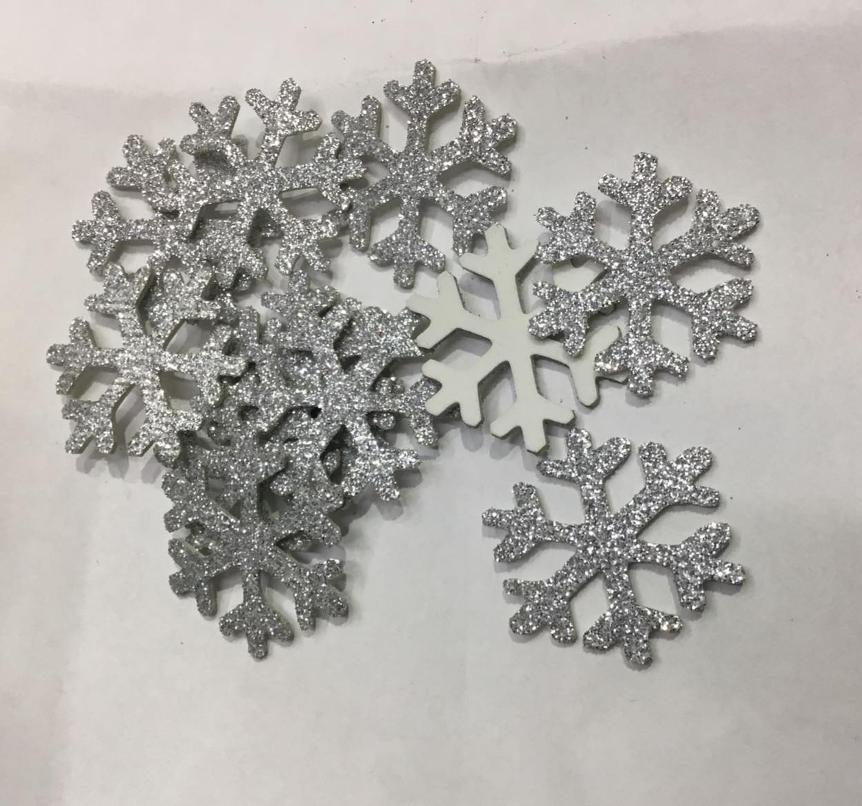 Снежинки из фоамирана, серебряные, 4 см в диаметре, набор 10 шт